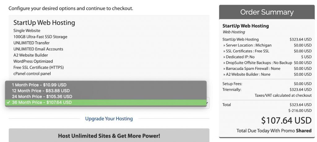 A2 Hosting shared hosting checkout example
