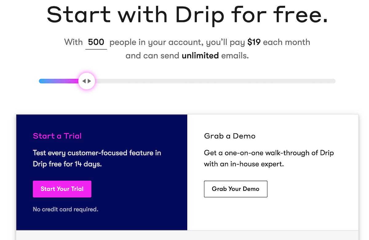 Drip pricing plans