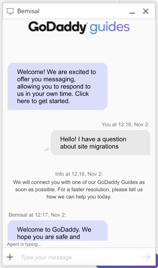 HostingFacts GoDaddy Review live chat test