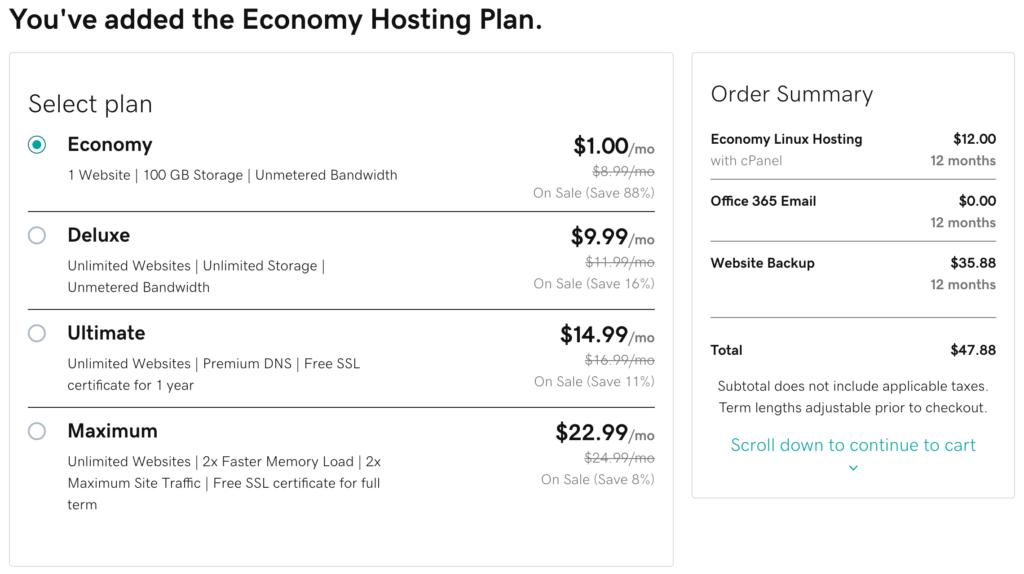 HostingFacts GoDaddy review plan length