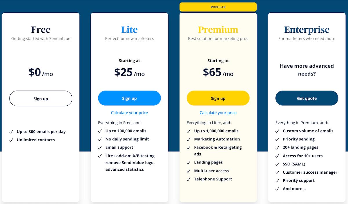Sendinblue email marketing plans