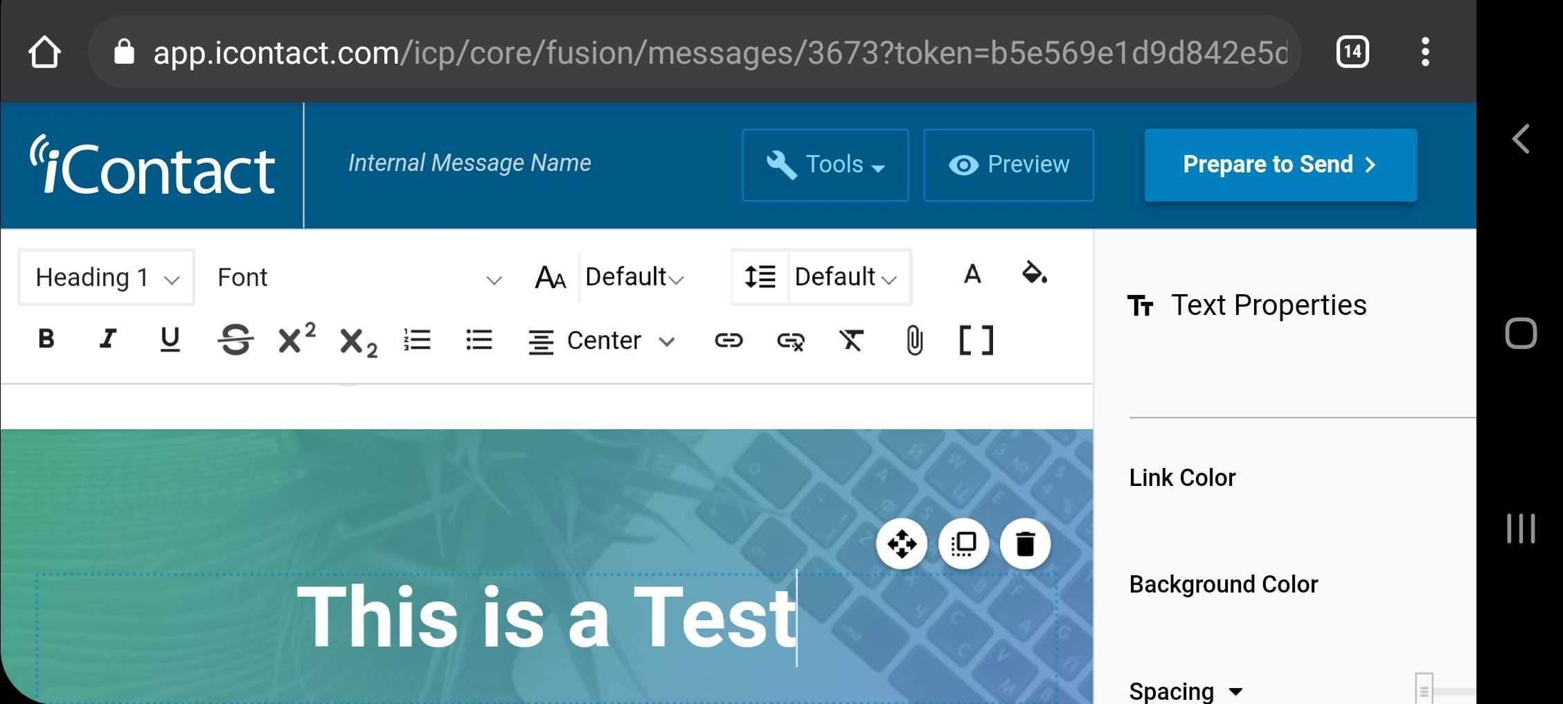 iContact email editor in mobile browser