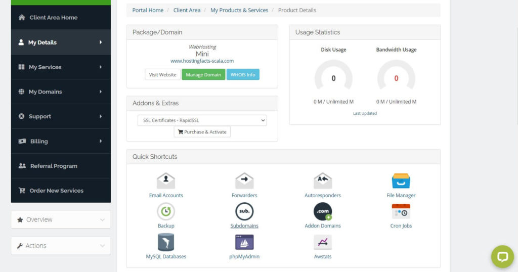 scala hosting client area